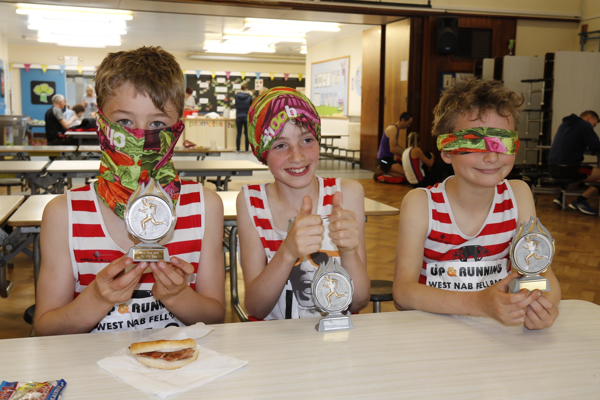 Speak no evil, hear no evil, see no evil ... James, William and Patrick with their prizes