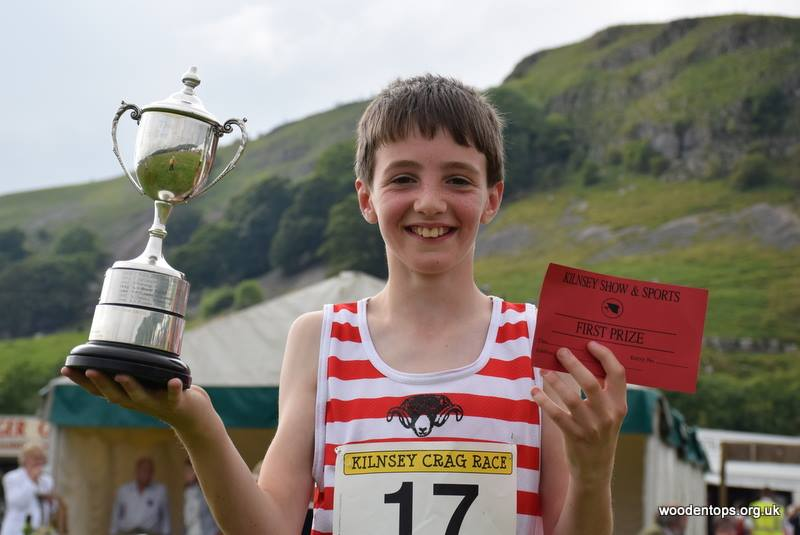 William Hall with his trophy at the Kilnsey Show and Sports. Courtesy of Woodentops.